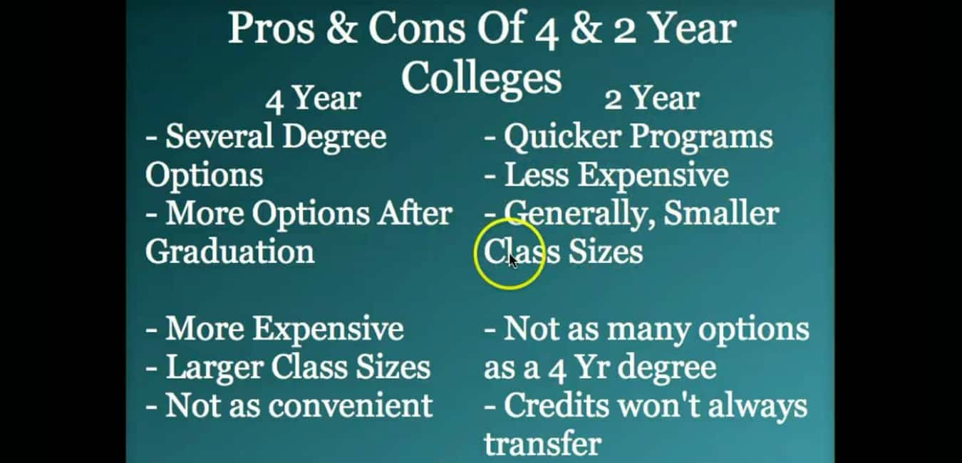 2 Year VS 4 Year College Pros and cons